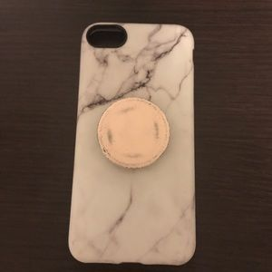 iphone 7 marble phone case and pop socket